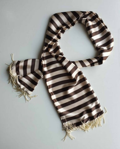 Glossy Brown Stripes Scarf
