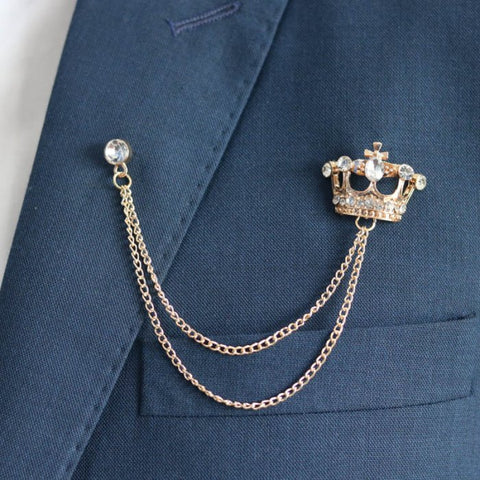 Golden Crown Tassel Chain Brooch