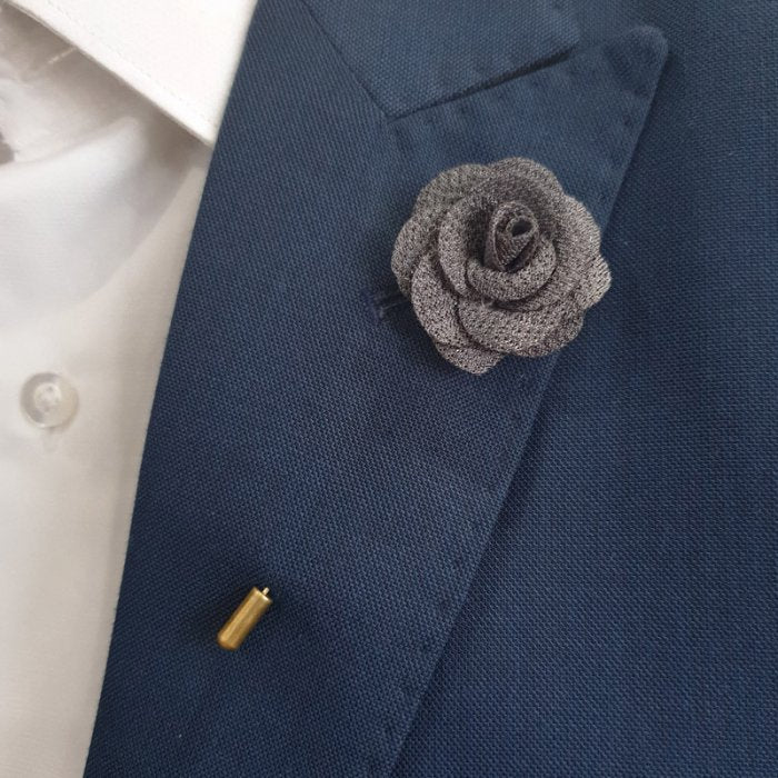 Gray Fabric Flower Lapel Pin