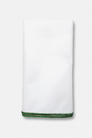 Green Edged White Cotton Pocket Square