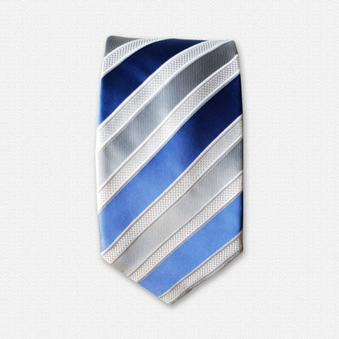 Grey & Blue Lean Stripped Tie