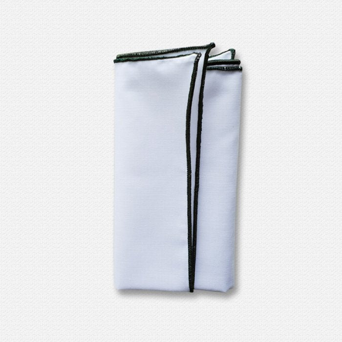 Hunter Green Edged White Cotton Pocket Square