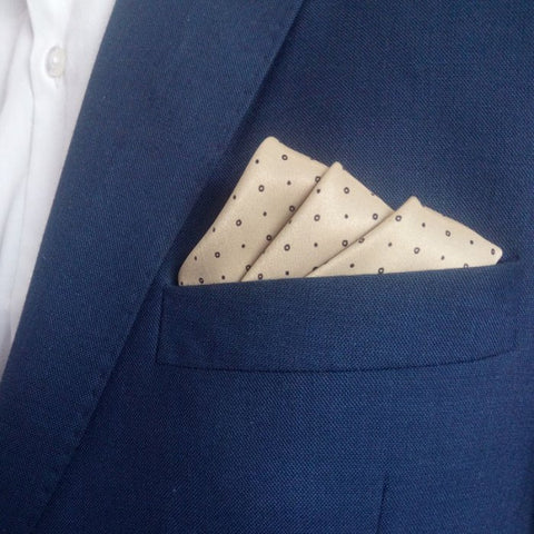 Light Caramel Polka Dots Pocket Square