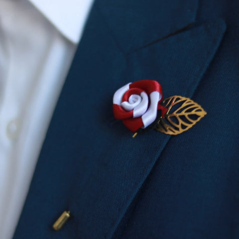 Maroon & Silver Gold Leaf Lapel Pin