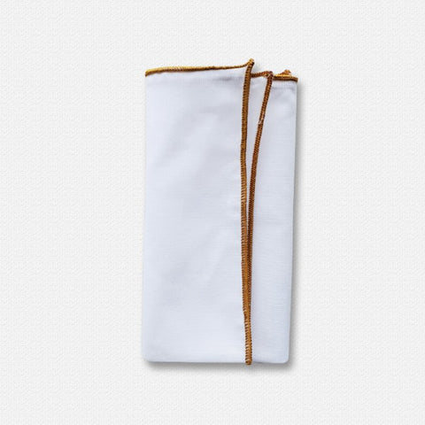 Mustard Edged White Cotton Pocket Square