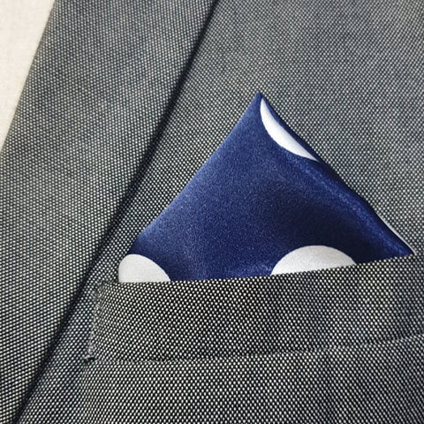 Navy Blue & White Jumbo Polkas Pocket Square