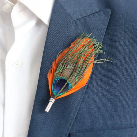 Orange Peacock Feather Lapel Pin