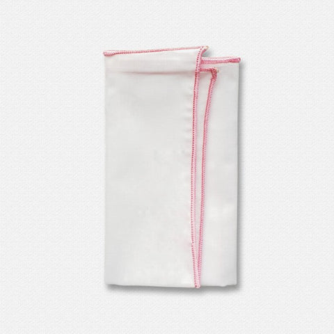 Pink Edged White Cotton Pocket Square