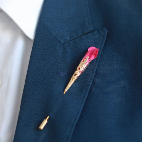 Pink Rose Bud Lapel Pin