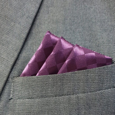 Plum Boxed Pocket Square