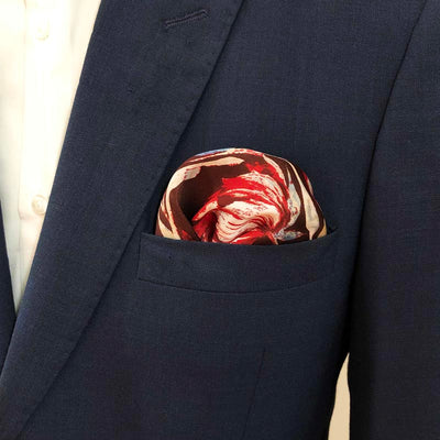 Brown Red Floral Pocket Square