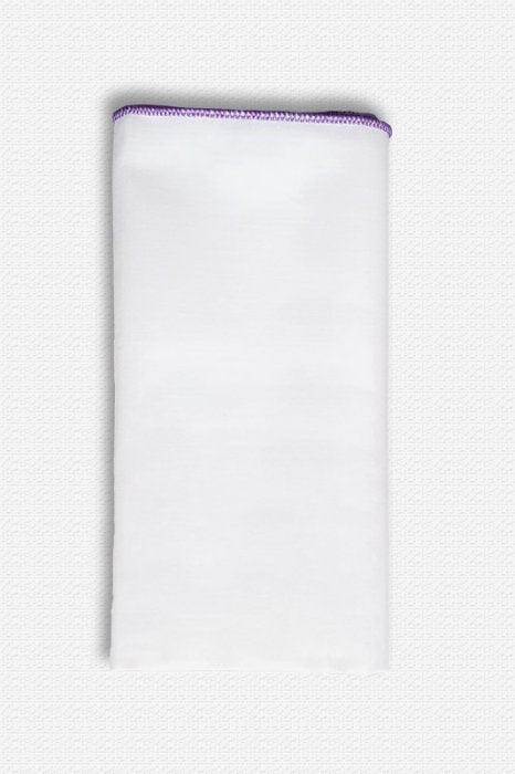 Purple Edged White Cotton Pocket Square