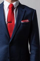Red Edged White Cotton Pocket Square