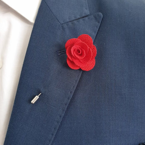 Red Fabric Flower Lapel Pin
