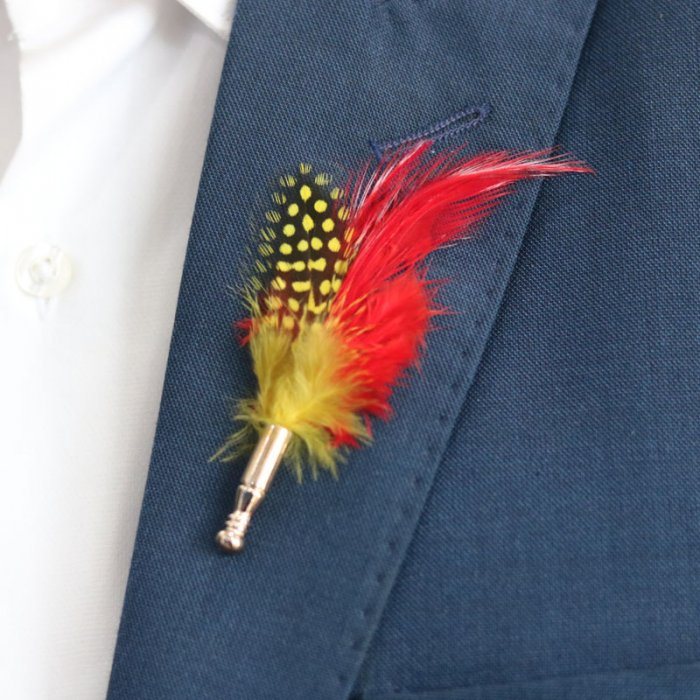 Red Peacock Feather Lapel Pin