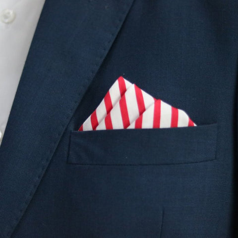 Red Stripes Pocket Square