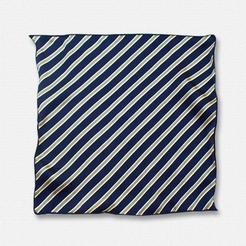 The Navy blue Stripes - Silk Pocket Square
