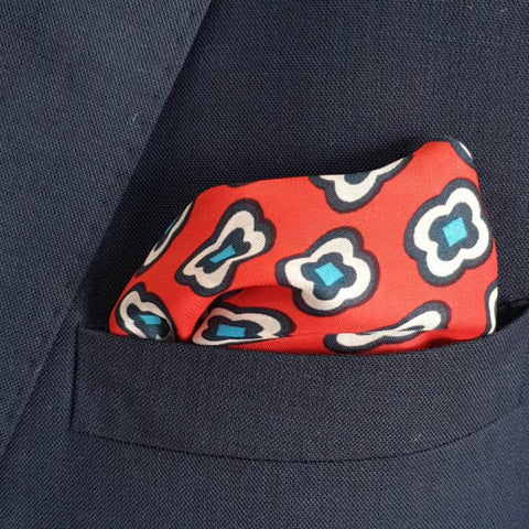 The Red Stitch Pocket Square