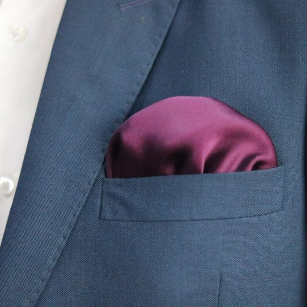 The Solid Plum Pocket Square