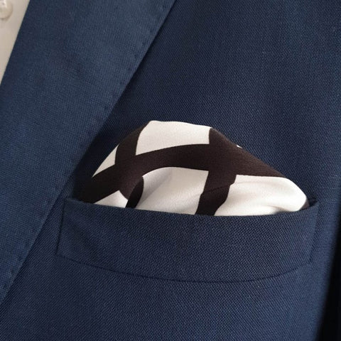 White & Black Boxed Pocket Square