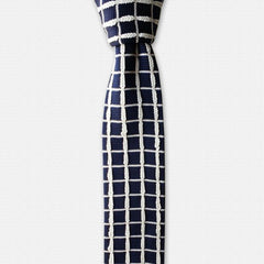 White & Blue Knited Tie