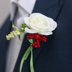 White Rose Boutonniere Lapel Pin