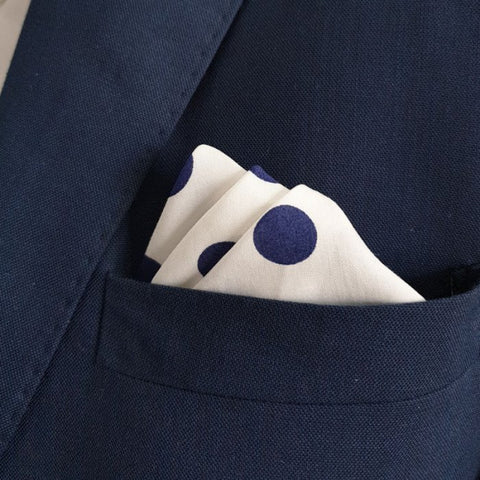 White with Blue Polka Dots Pocket Square