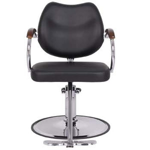 "Hair cutting chair with hydraulic pump and wood accented chrome arms. The chrome base is 23"" in diameter to provide stability for your client while you style their hair however they like."