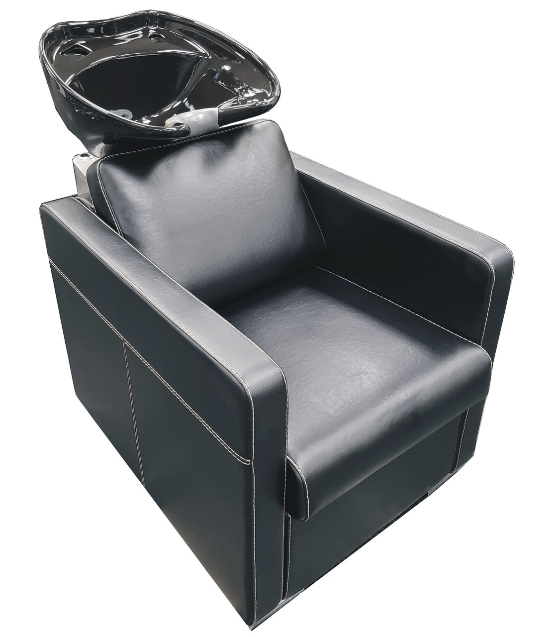 Shampoo backwash combo has a chair with a tilting bowl mounted behind. Quality vinyl chair with just the right padding for ultimate comfort. The bowl adjusts to the client, no need to slouch in the chair.