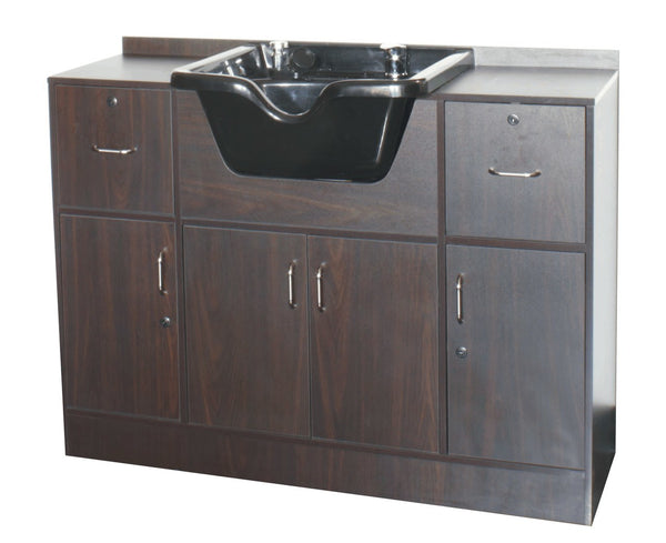 Shampoo Wet Station with Sink, Walnut
