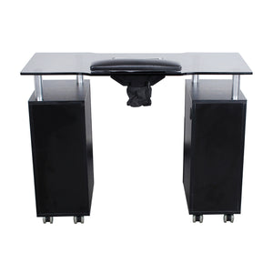 Manicure Table, Black with Glass