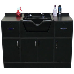 Shampoo Center Station with Sink, Black