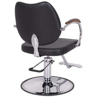 Comfort is king for the Vespa styling chair with a swooped back to make cutting any height client's hair with ease. They hydraulic pump is rated to 375 lbs. and with the ergonomic foot pedal, you can certainly lift even your heftiest clients to the height you prefer for a professional hair cut.