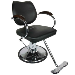 The Vespa styling chair comes with chrome base, chrome arms, and wood accents for the top of the arms. This chair is great for any salon and can match a variety of styles to compliment any salon studio or barber shop.