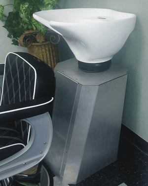 Backwash Shampoo Pedestal Brushed Metal