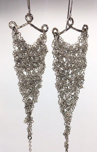 silver crocheted earrings (S)