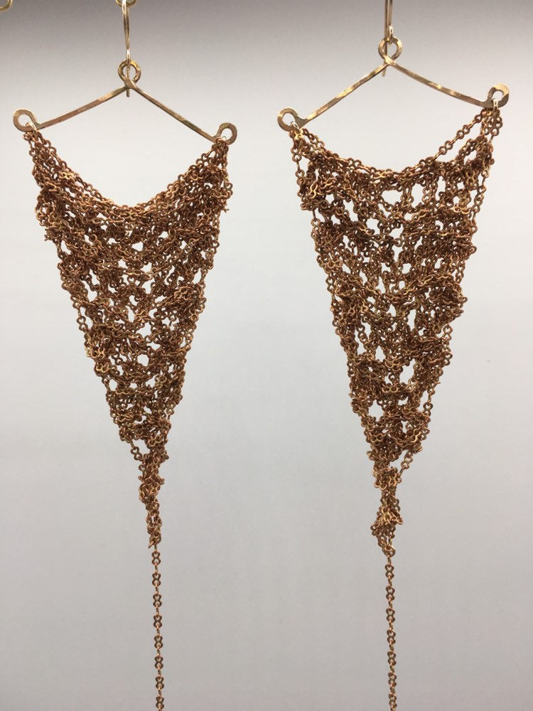 Copper chain earrings (L)