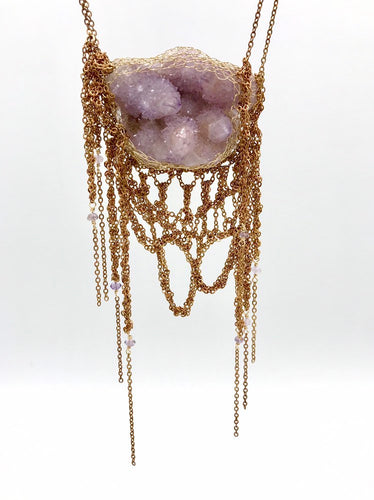 Spirit quartz cluster statement necklace