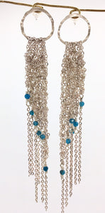 Silver post crocheted fringe earrings w/apatite