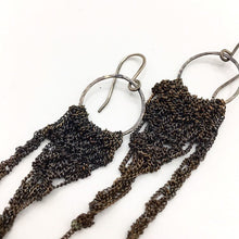 Load image into Gallery viewer, Oxidized silver crocheted earrings