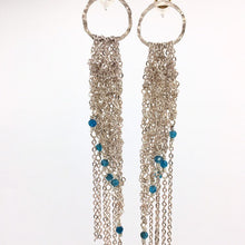 Load image into Gallery viewer, Silver post crocheted fringe earrings w/apatite