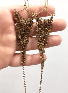 Brass chain crocheted earrings (S)