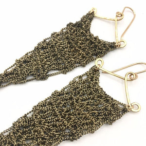 Weathered brass chain crocheted earrings  (M)