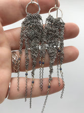 Load image into Gallery viewer, Small asymmetrical steel fringe earrings
