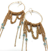 Load image into Gallery viewer, XL gold apatite hoop earrings