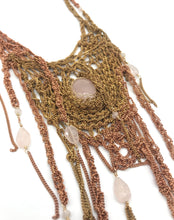 Load image into Gallery viewer, Mixed metals brass rose quartz necklace