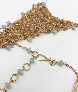 Gold aquamarine triangle necklace