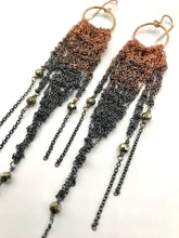 Load image into Gallery viewer, Medium copper ombré brass fringe earrings with pyrite
