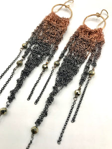 Medium copper ombré brass fringe earrings with pyrite
