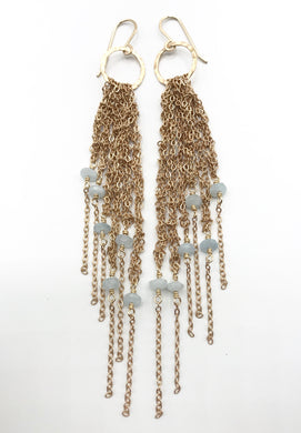Small aquamarine brass fringe